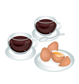 A Cup of Coffee with Fresh Eggs vector image vector image