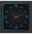 Analog clock with blue neon lights vector image vector image