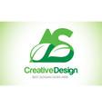 as green leaf letter design logo eco bio leaf vector image vector image