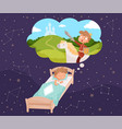 badreams sleeping children dreaming clouds vector image