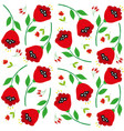 bright cartoon poppy flowers on white vector image vector image