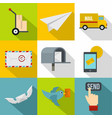 cargo delivery icons set flat style vector image vector image