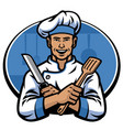 chef hold knife and spatula vector image vector image