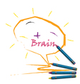Colorful pencil crayons with creative brain sign vector image vector image