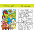 coloring and color for children farm vector image vector image