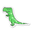distressed sticker of a cartoon dinosaur vector image vector image