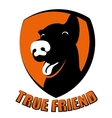 Dog true friend silhouette logo vector image vector image