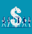 dollar money icon as a group gears and cogs vector image