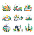 ecology and save nature environment icons vector image vector image