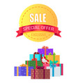 exclusive sale special offer round emblem gift box vector image vector image