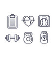 fitness lifestyle set icons vector image