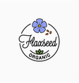 flaxseed logo round linear flower vector image vector image