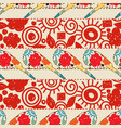 flowers stripes and birds seamless pattern vector image