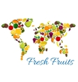 Fresh fruits icons in world map shape vector image vector image