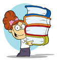 Girl Carrying A Stack Of Books vector image vector image