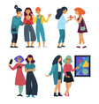girlfriends gathering or meeting talking and vector image