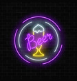 glowing neon beer bar signboard in circle frames vector image
