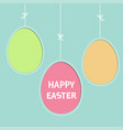 happy easter text hanging painted egg set dash vector image vector image