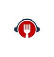 headphone food logo icon design vector image vector image