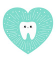 healthy tooth heart icon smiling face round line vector image