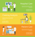 hospital care after patient and checking analysis vector image