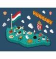 hungary isometric touristic map vector image