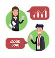 interaction between two employees of businessmen vector image vector image