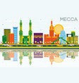 mecca skyline with color landmarks blue sky and vector image vector image