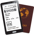 mobile phone with electronic boarding pass ticket vector image vector image