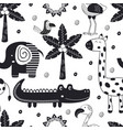 monochrome seamless pattern with jungle animals vector image vector image