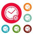 no time icons circle set vector image