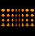 orange 3d symbols poker cards animation vector image