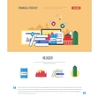 Page web design with icons of financial strategy vector image vector image