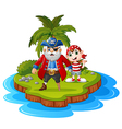 pirate in the island vector image vector image