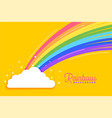 rainbow with clouds bright background vector image