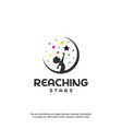 reaching stars logo design template dream star vector image