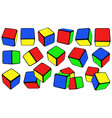 set different colorful cubes vector image