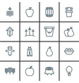 set of 16 farm icons includes wood pot taste vector image vector image