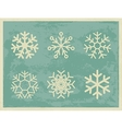 Snowflakes vintage collection on grunge retro vector image vector image