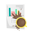 spilled coffee on an important paper document vector image vector image