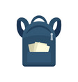 student backpack icon flat style vector image vector image