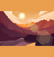 sunset mountain landscape with forest and lake vector image