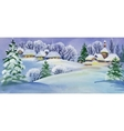 Watercolor winter landscape with snowy houses vector image vector image