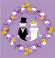wedding between skeletons with frame vector image vector image