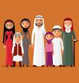 arab family muslim people big family vector image