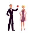 Man and woman in 1920s style clothes at vintage vector image