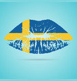 sweden flag lipstick on the lips isolated on a vector image