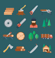 woodcutter icon set vector image
