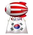 A floating balloon with the Korean flag vector image vector image