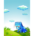 A monster exercising at the top of the hill vector image vector image